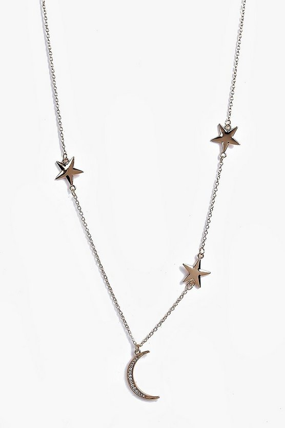 Laila Moon And Star Skinny Necklace