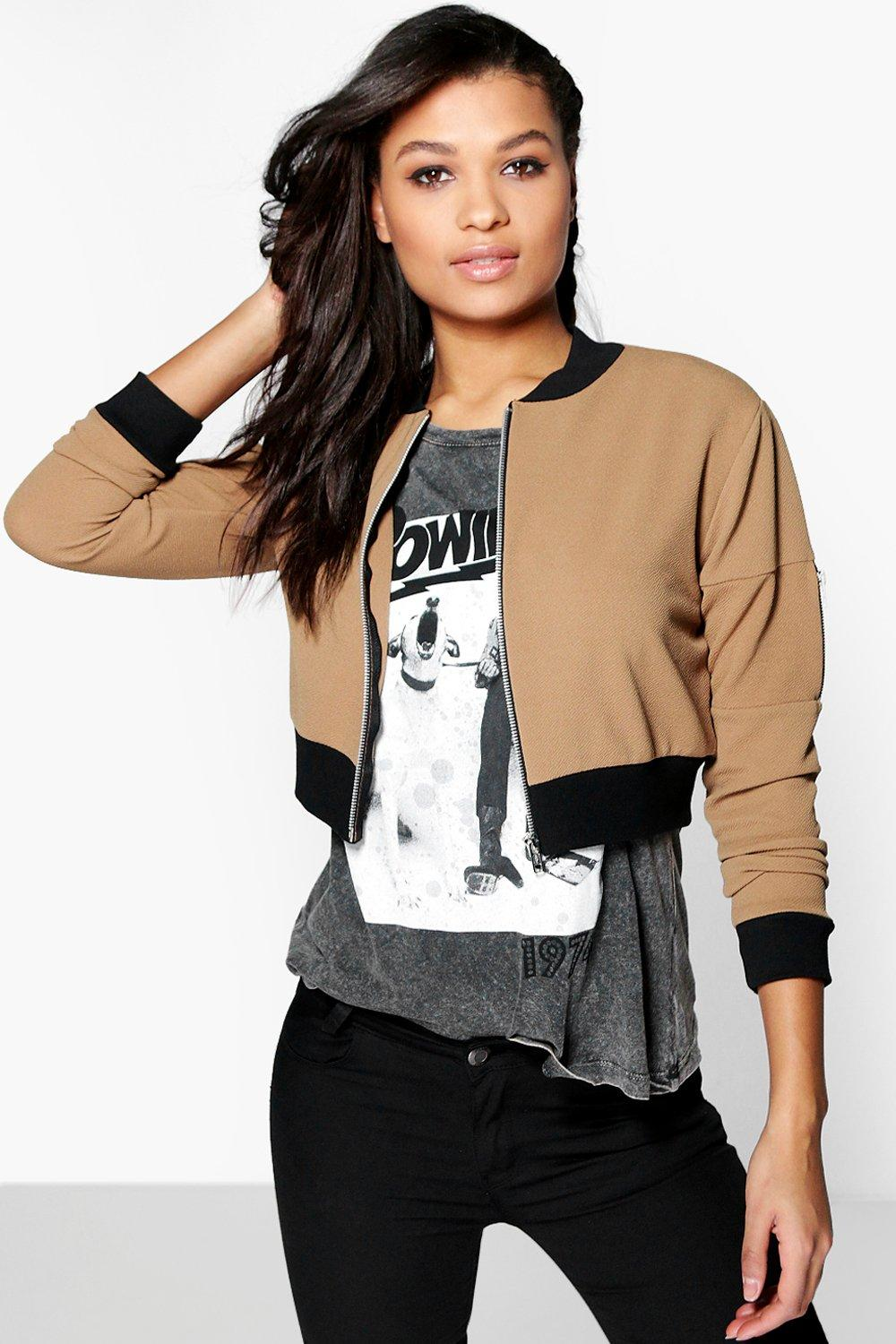 Freya Crop Textured MA1 Bomber Jacket