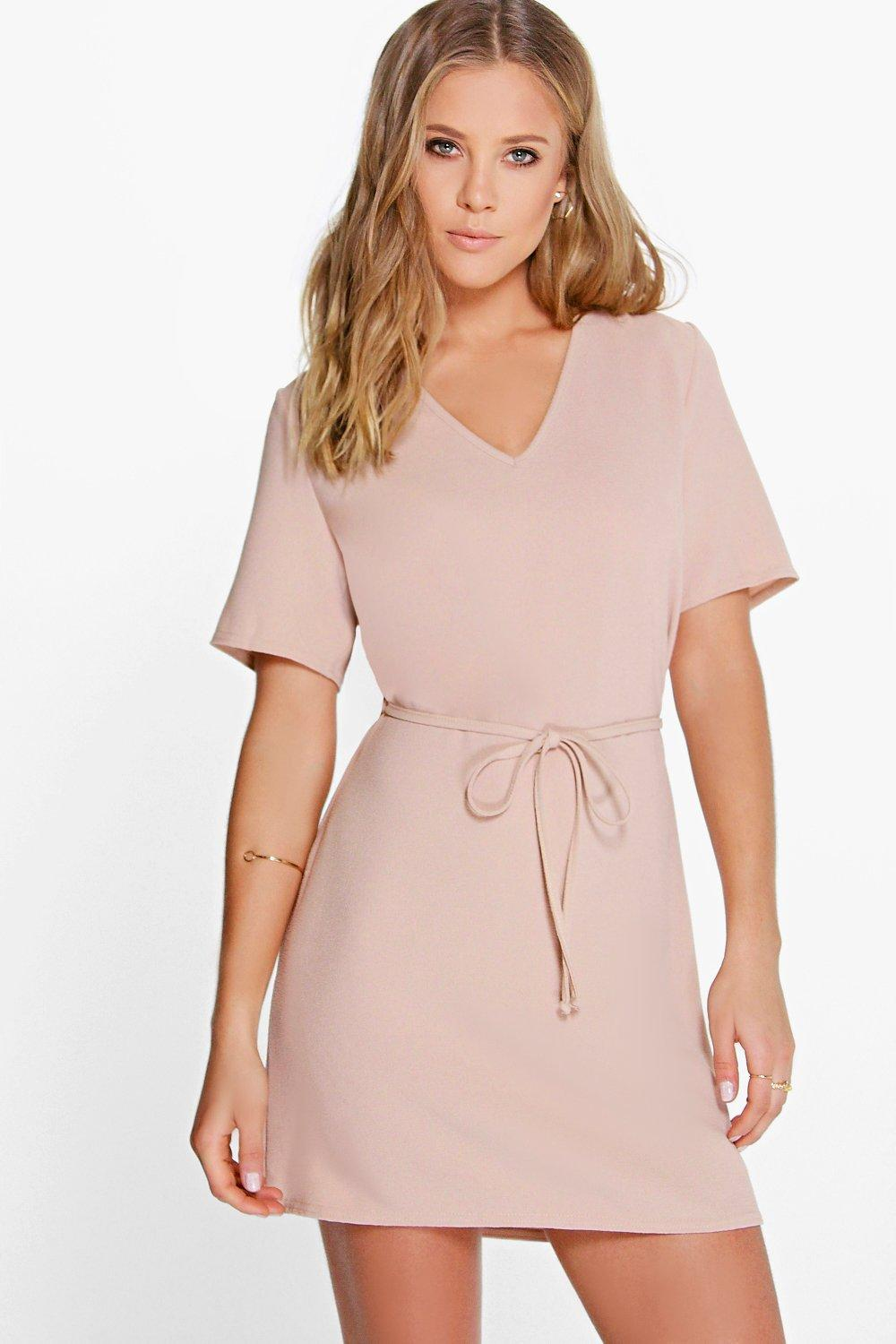 Carmino V Front Self Tie Shift Dress