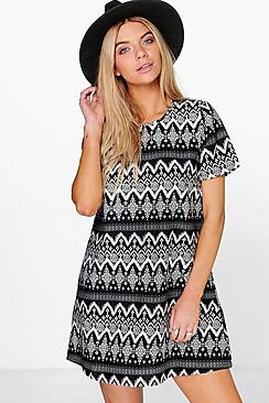Ella Mono Print Shift Dress