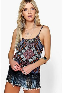 Sophie Fringed Paisley Low V Back Tassel Hem