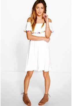 Hayley Off The Shoulder Pom Pom Shift Dress