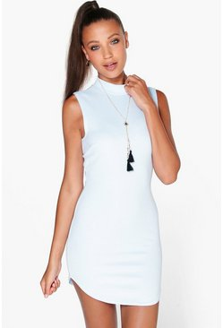 Connie Ribbed Curved Hem Bodycon Dress