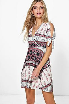 Ulrika Cold Shoulder Wrap Skater Dress
