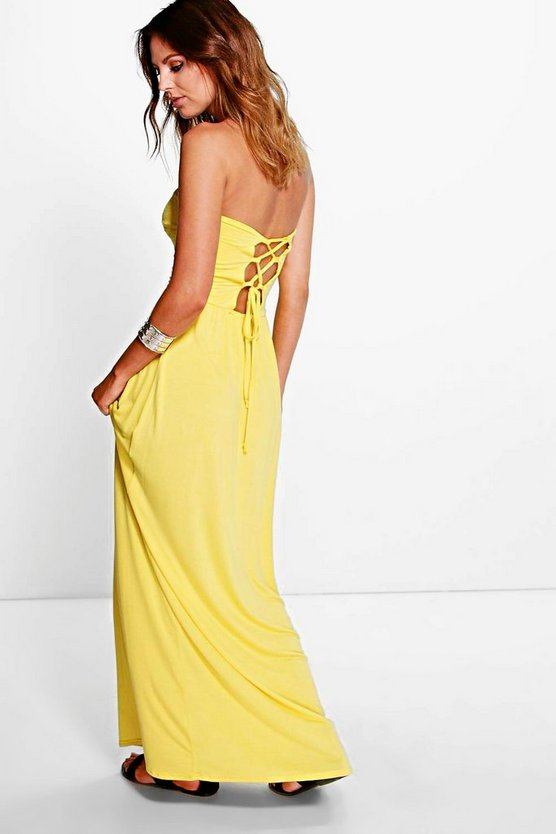 Allie Lace Up Bandeau Maxi Dress
