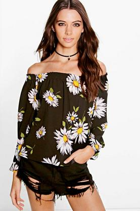 Emma Sunflower Print Off The Shoulder Top