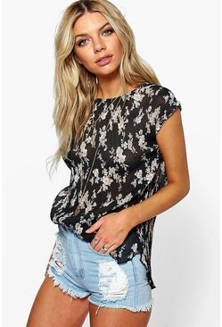 Beci Pleated Floral Sleeveless Top