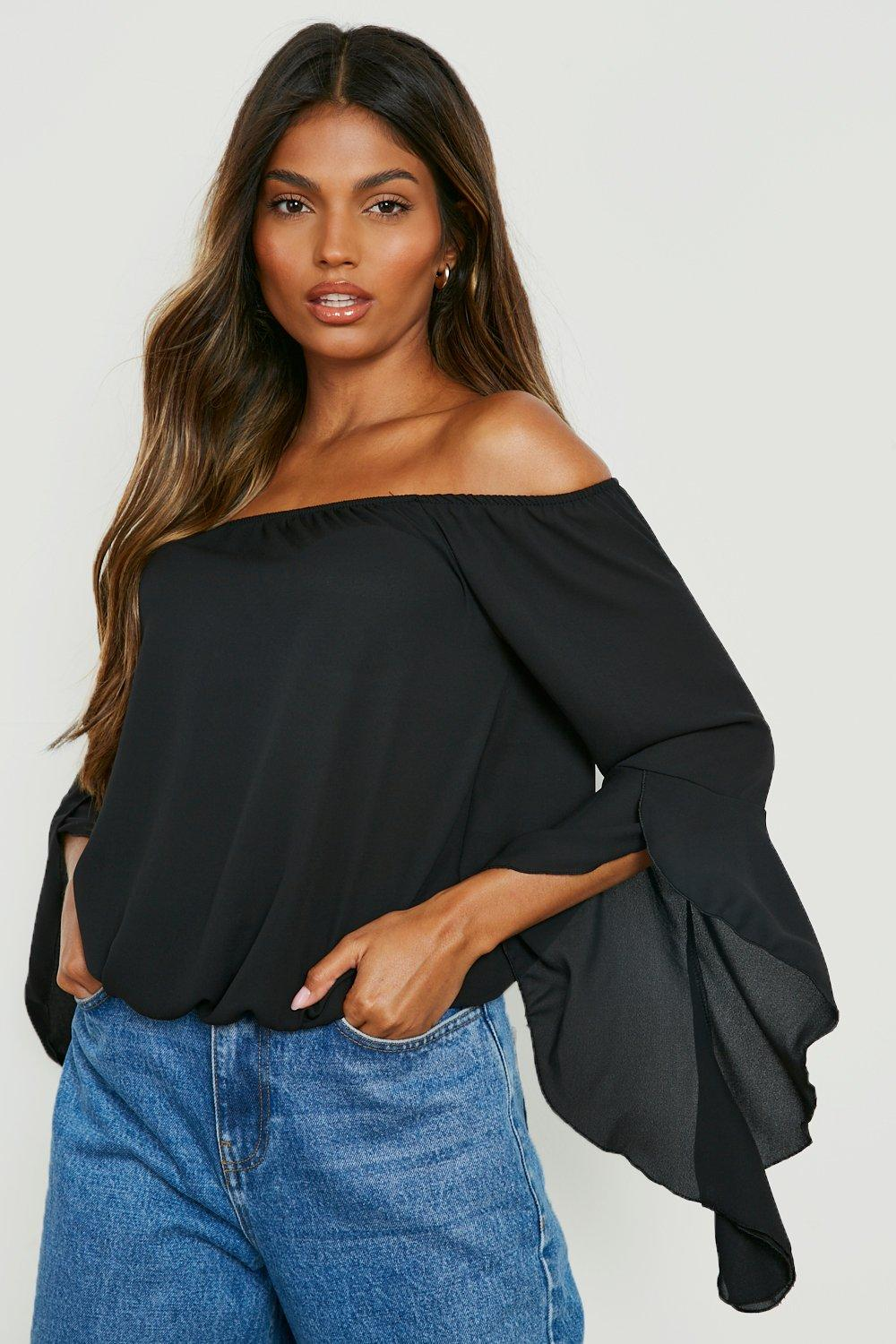 Maya Fluted Frill Sleeve Off The Shoulder Top