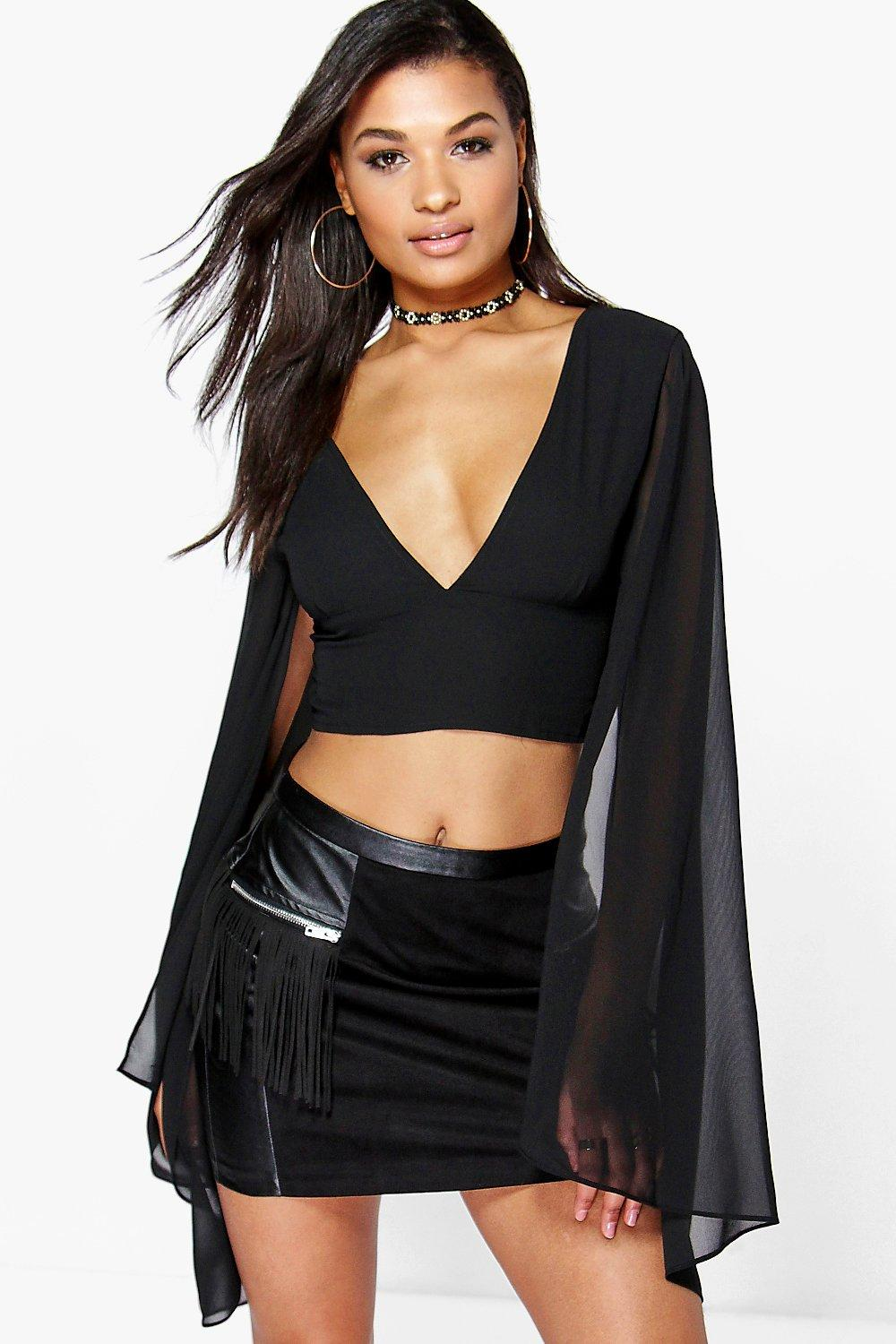 Evie Cape Style Sleeve Woven Top
