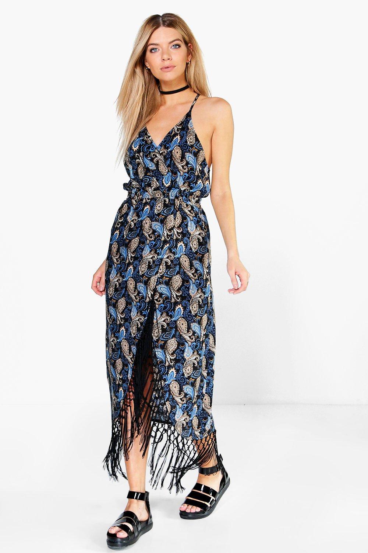 Floral Fringe Strappy Midi Dress black