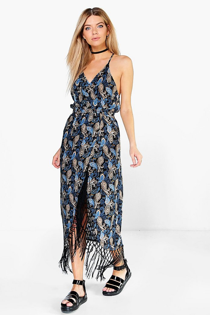 Ana Floral Fringe Strappy Midi Dress