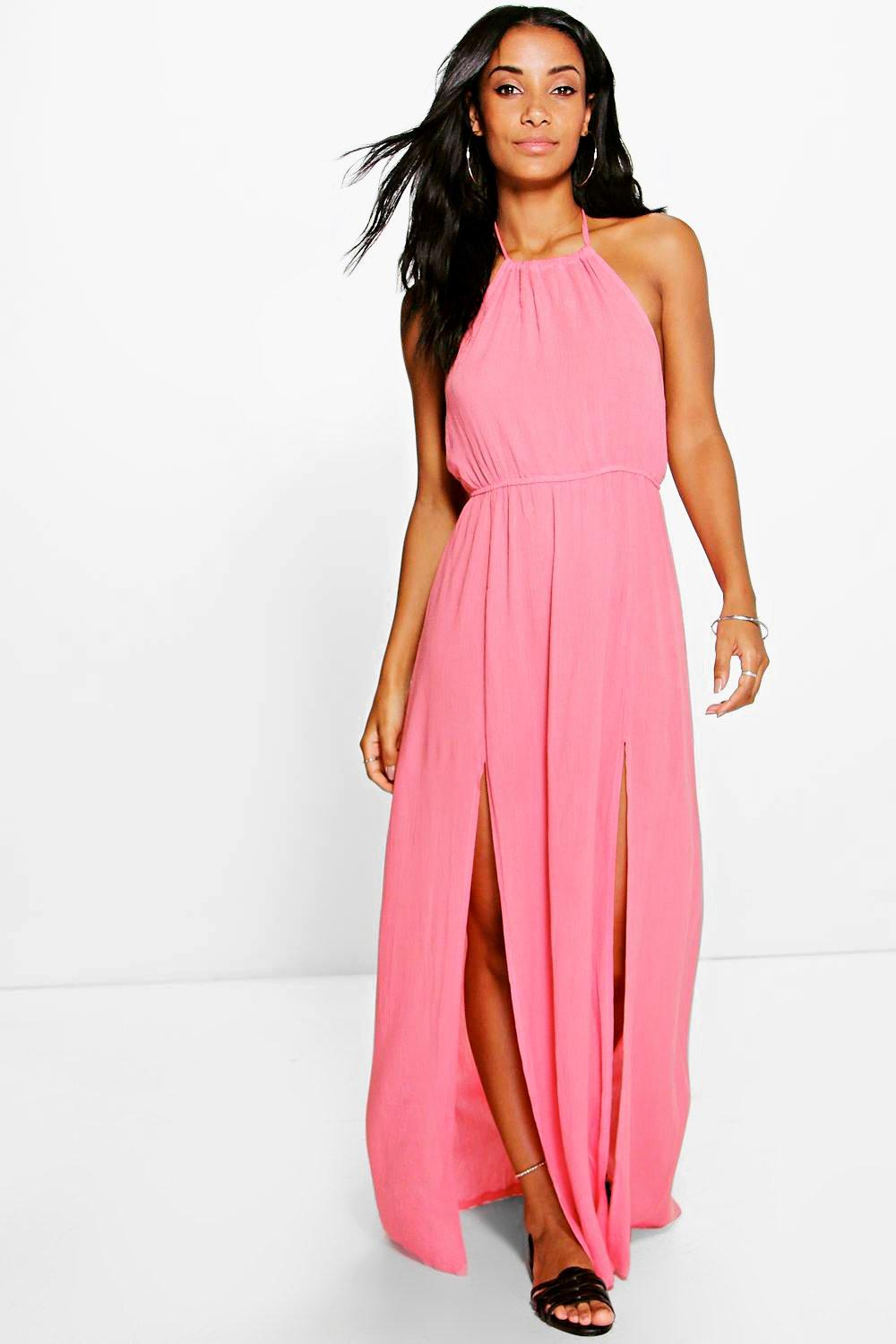 Cassandra High Neck Split Front Maxi Dress