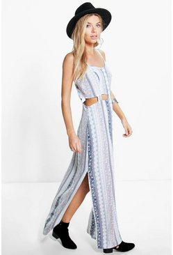 Kate Paisley Cut Out Detail Maxi Dress