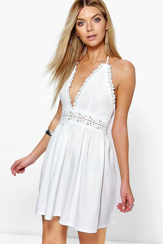 Savannah Crochet Lace Skater Dress