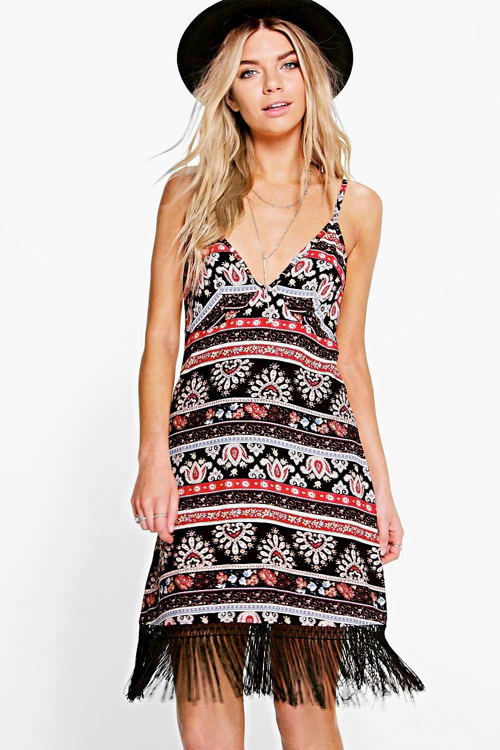 Amy Tassel Trim Slip Dress