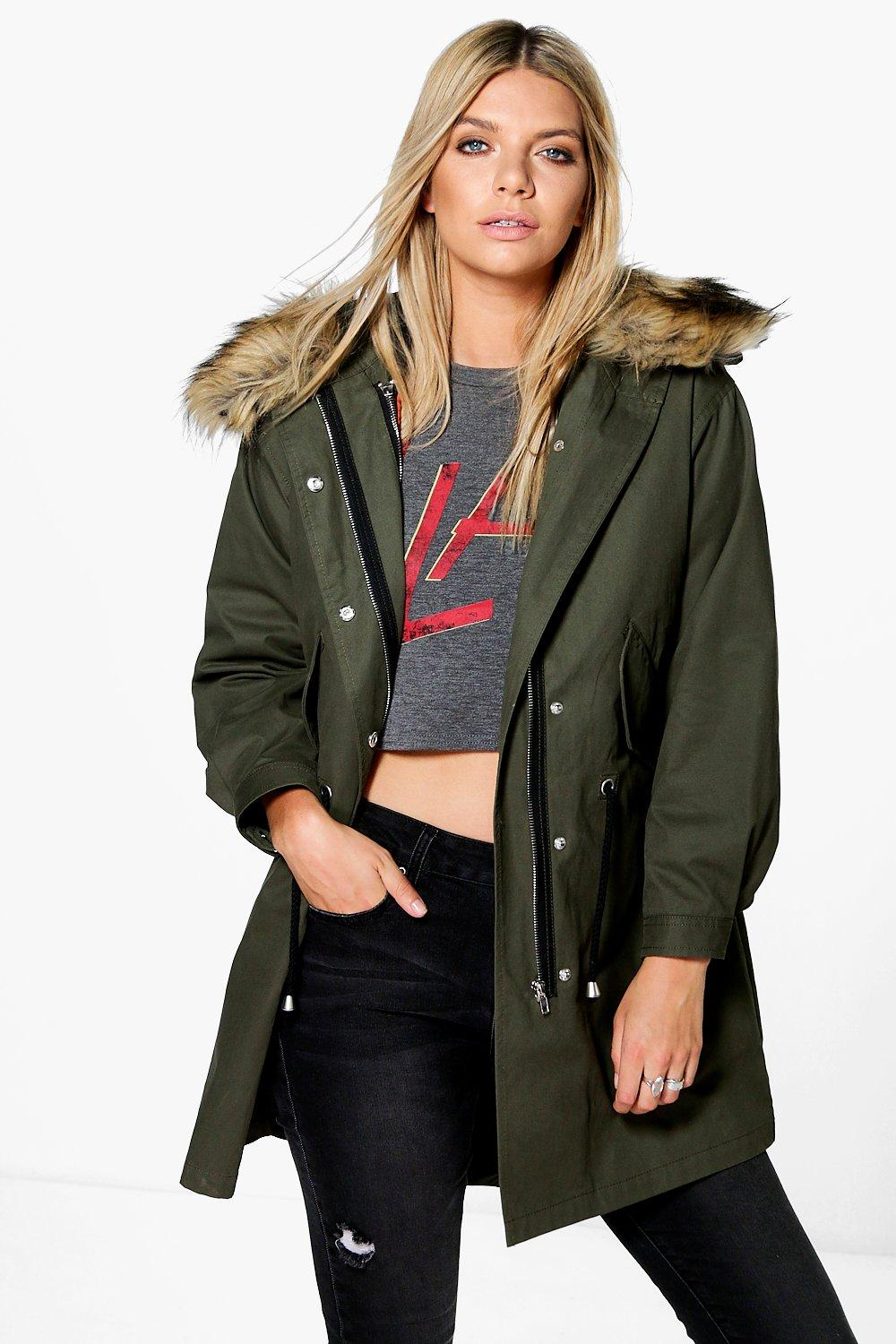 Ava 2 In 1 Zip Out MA1 Hooded Parka - khaki
