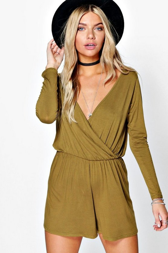 Alice Wrap Front Jersey Playsuit