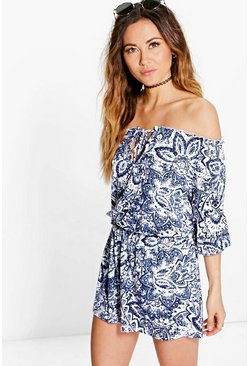 Anna Printed Off The Shoulder Playsuit