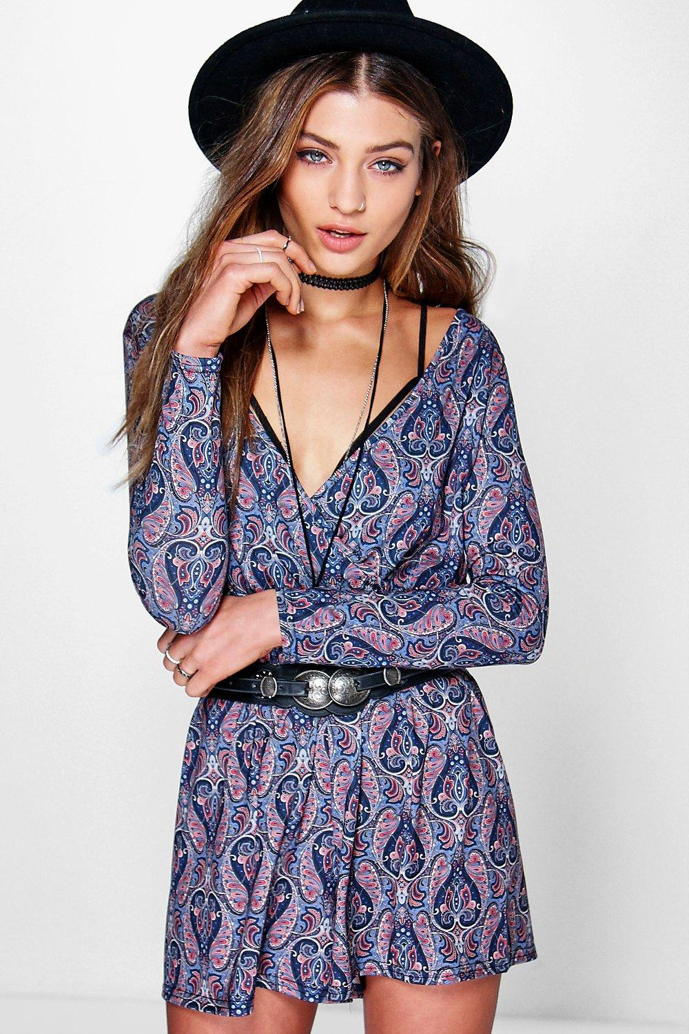 Shally Wrap Front Paisley Playsuit
