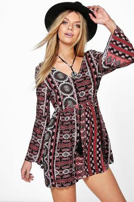 Lisa Open Back Tassle Print Smock Dress