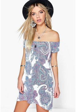 Lily Paisley Printed Off Shoulder Dress