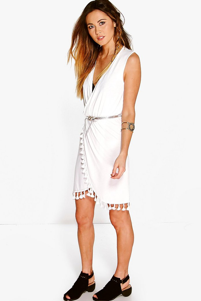 Natasha Wrap Tassel Fringe Dress