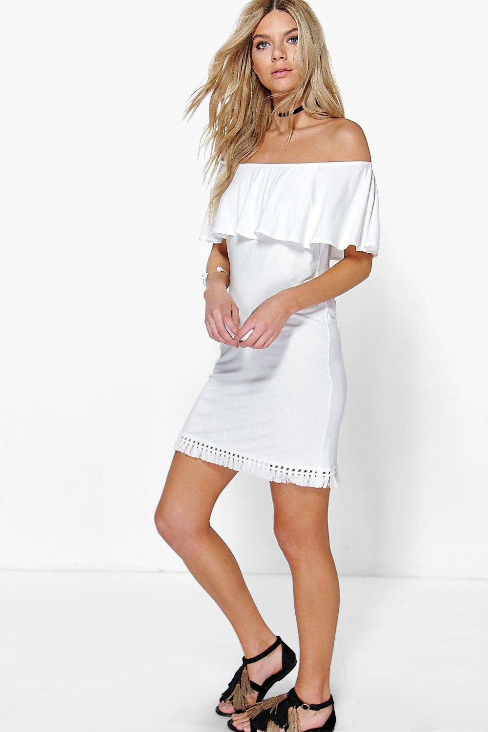 Micha Tassel Trim Off The Shoulder Dress
