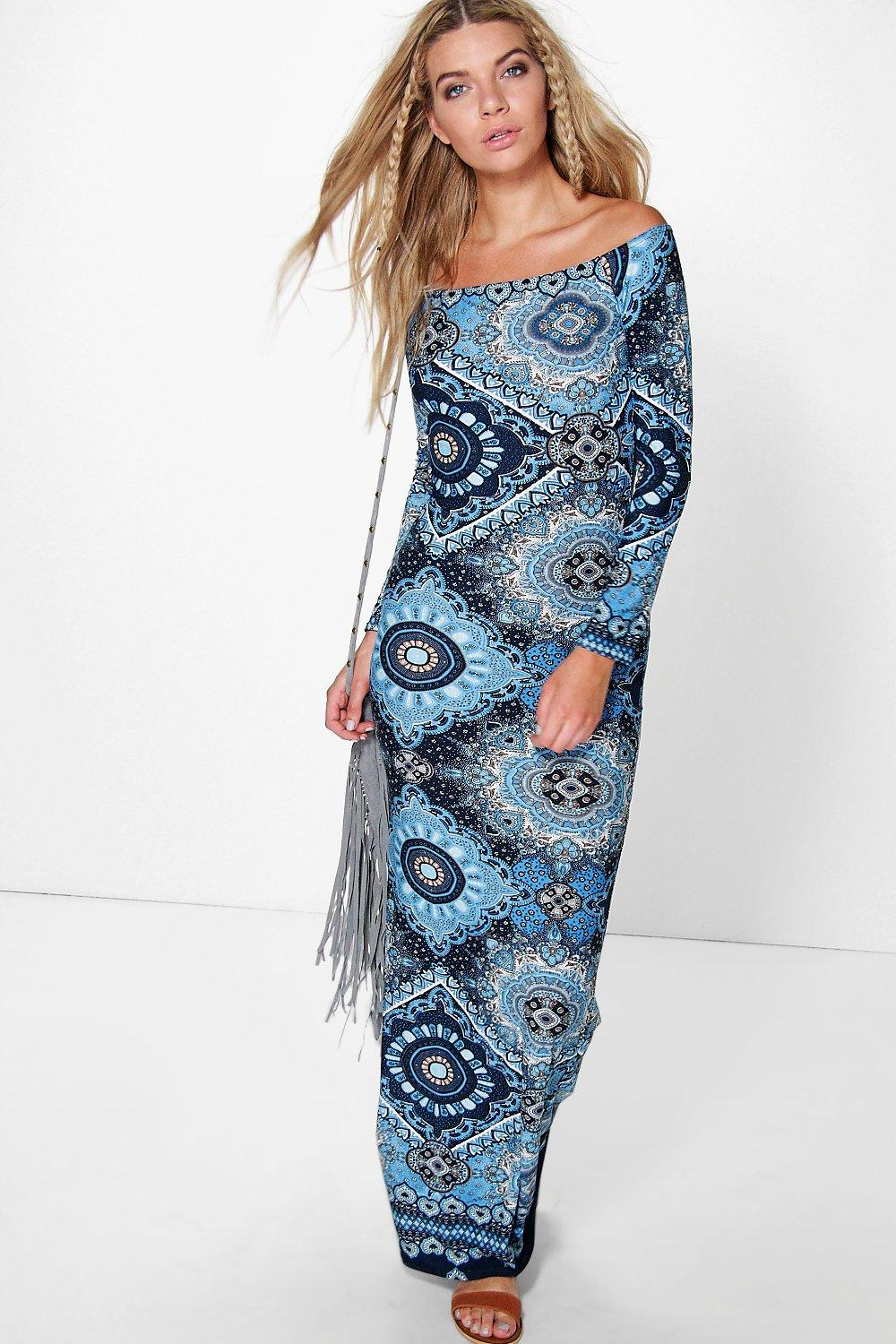 Rosie Off Shoulder Paisley Maxi Dress