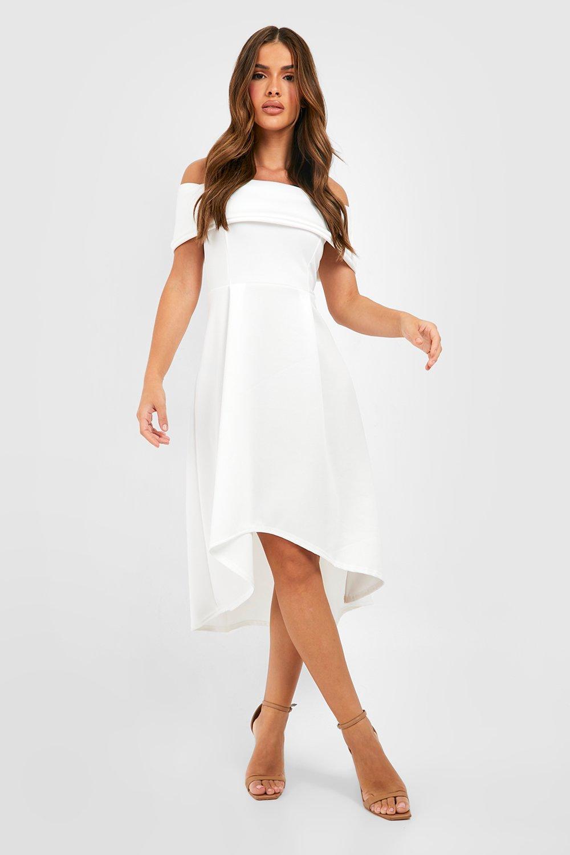 Formal Dresses Off The Shoulder Dip Hem Skater Dress