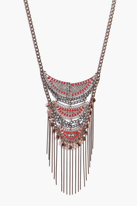 Lola Fringed Embellished Statement Necklace