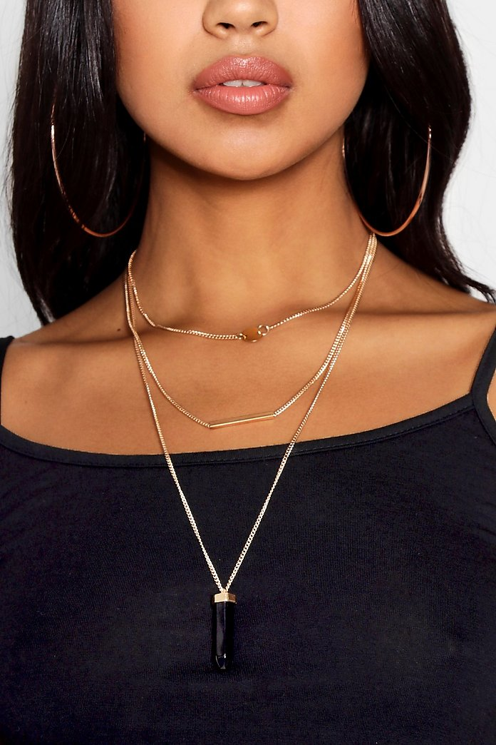 Lena Crystal And Bar Layered Necklace