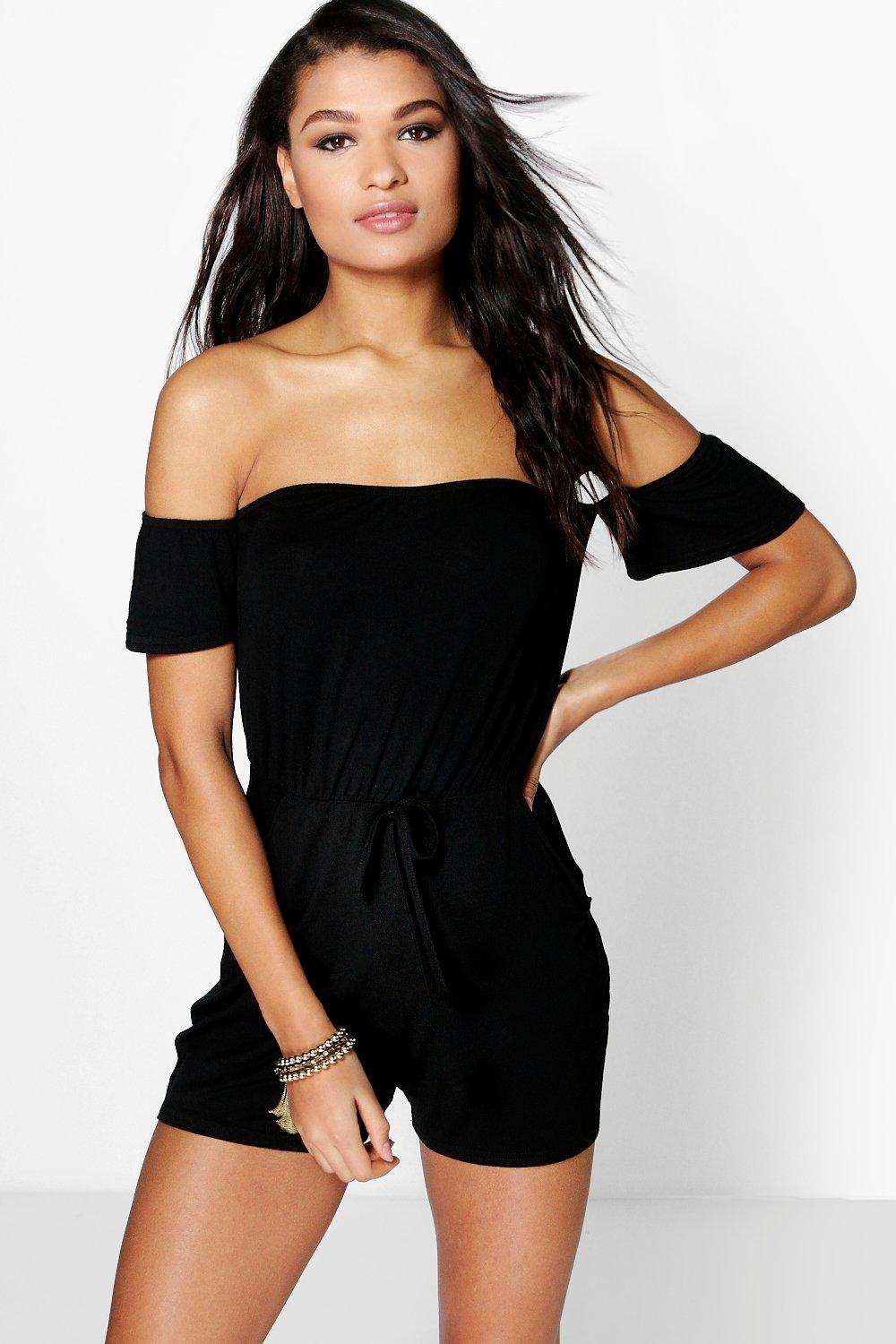 Avis Cold Shoulder Tassel Tie Playsuit