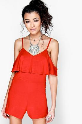 Phillis Cold Shoulder Ruffle Playsuit
