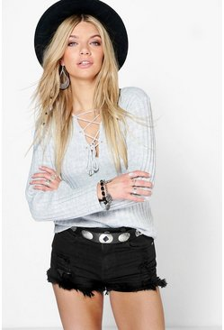 Hannah Lace Up Front And Back Rib Knit Top