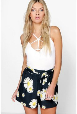 Laura Daisy Print Tie Belt Flippy Shorts