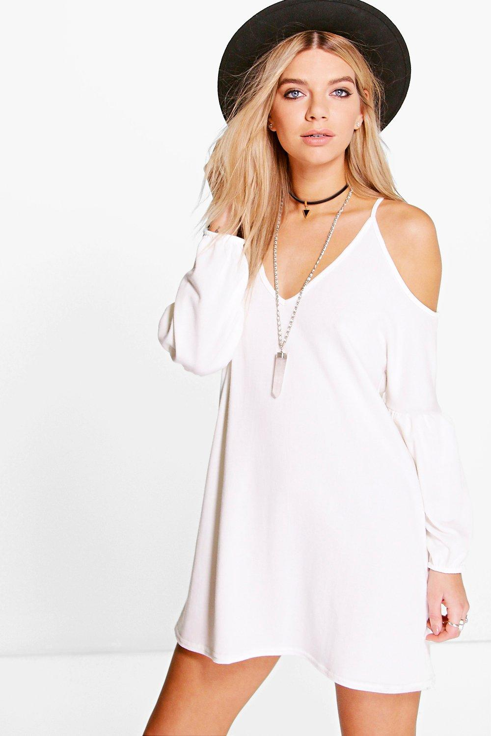 Sophie Cold Shoulder Bell Sleeve Dress