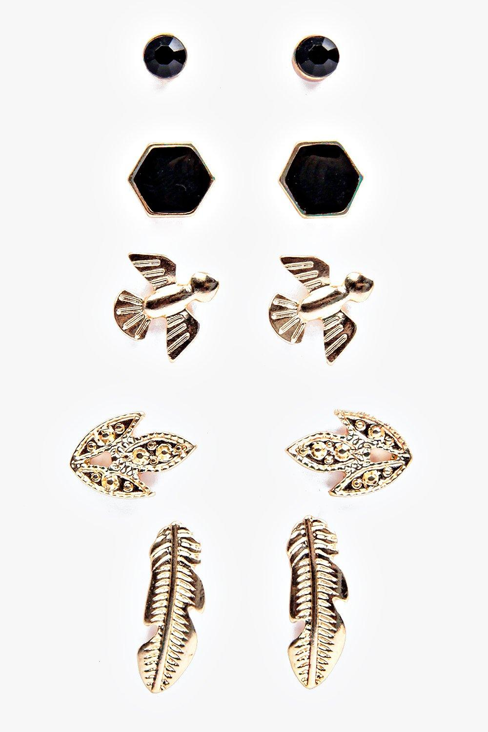 Ava Mixed Bird And Stone Stud Earring Set