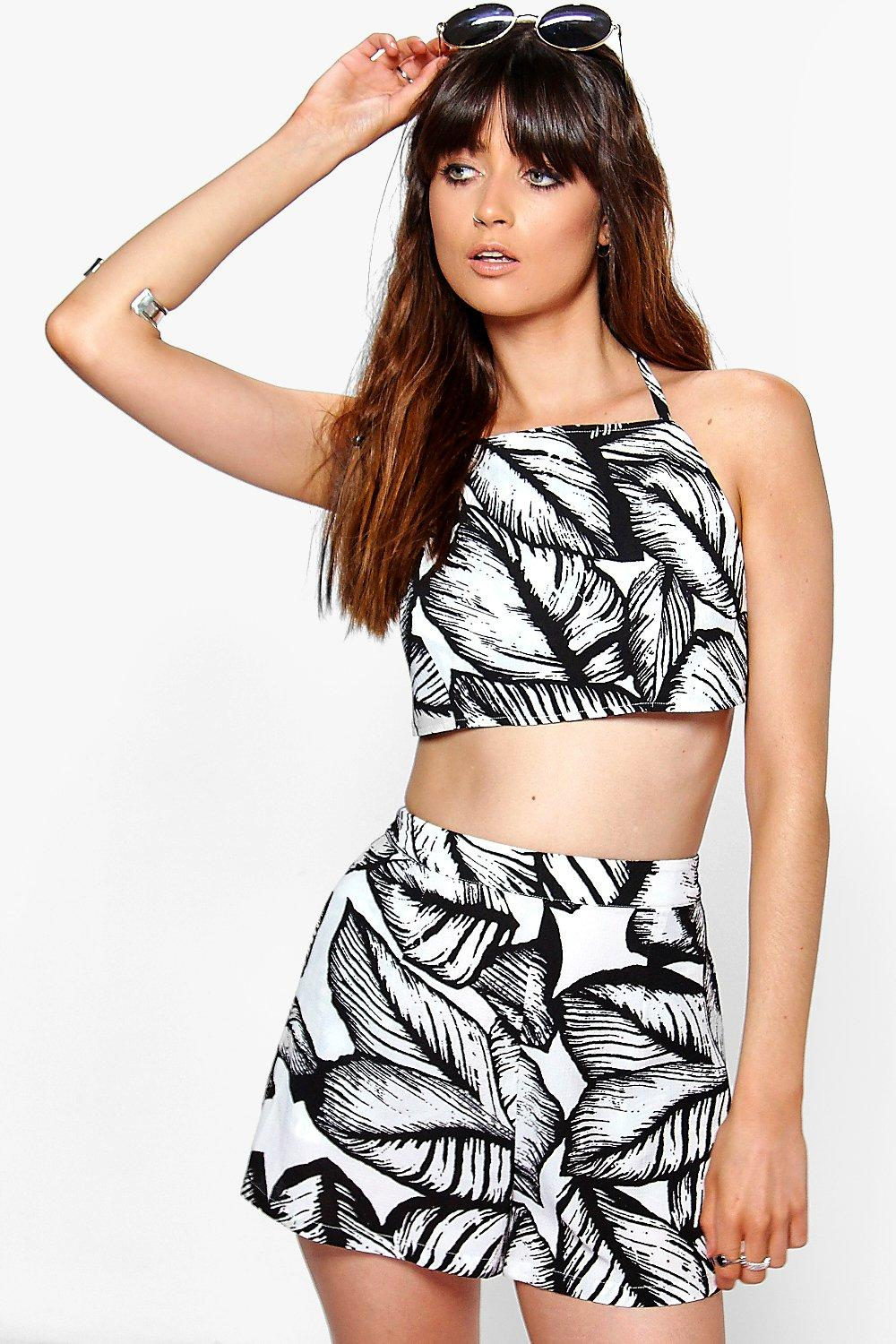 Jemmie Leaf Print Top & Shorts Co-Ord Set