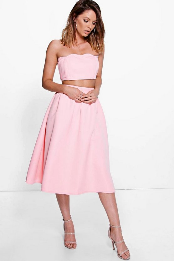 Boutique Jo Scallop Bandeau & Midi Skirt Co-Ord