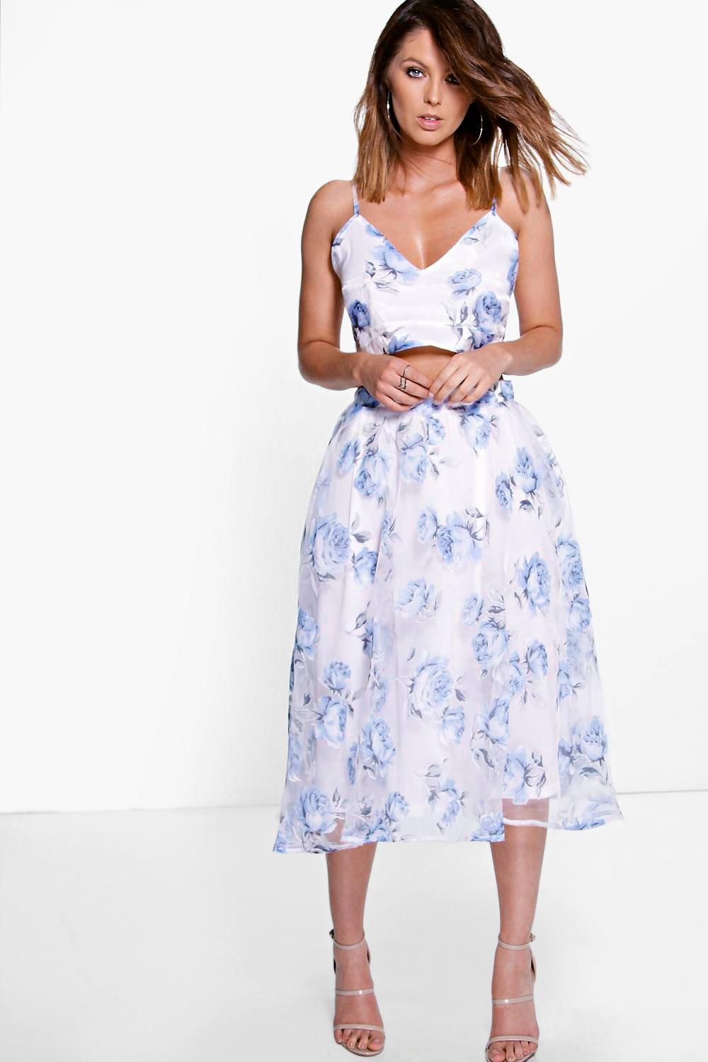 Boutique Mia Bralet & Full Midi Skirt Co-Ord Set | Boohoo