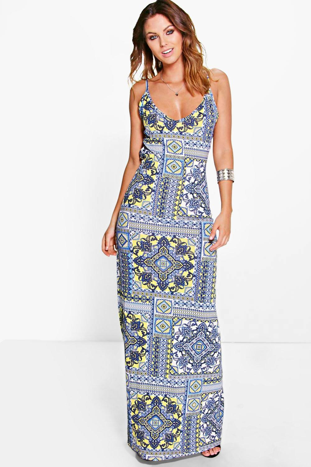 Bright Paisley Maxi Dress yellow