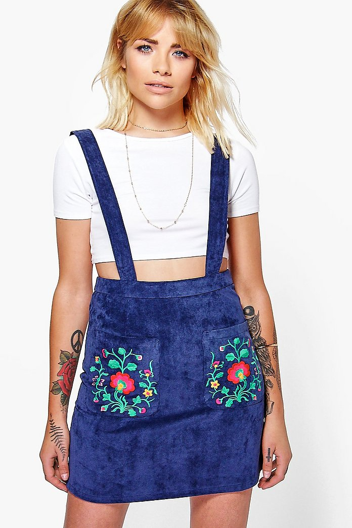 Katie Embroidered Cord Pinafore Dress
