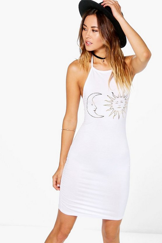 Hallie Sun & Moon Foil Print Bodycon Dress