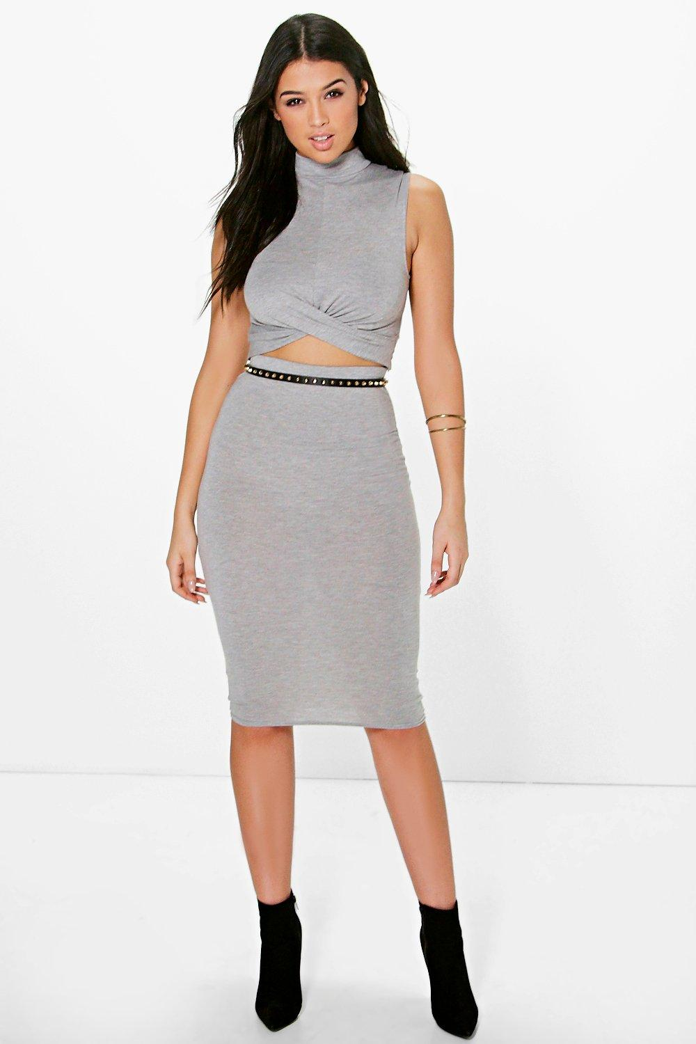 Lou Twist Front Top & Midi Skirt Co-Ord Set