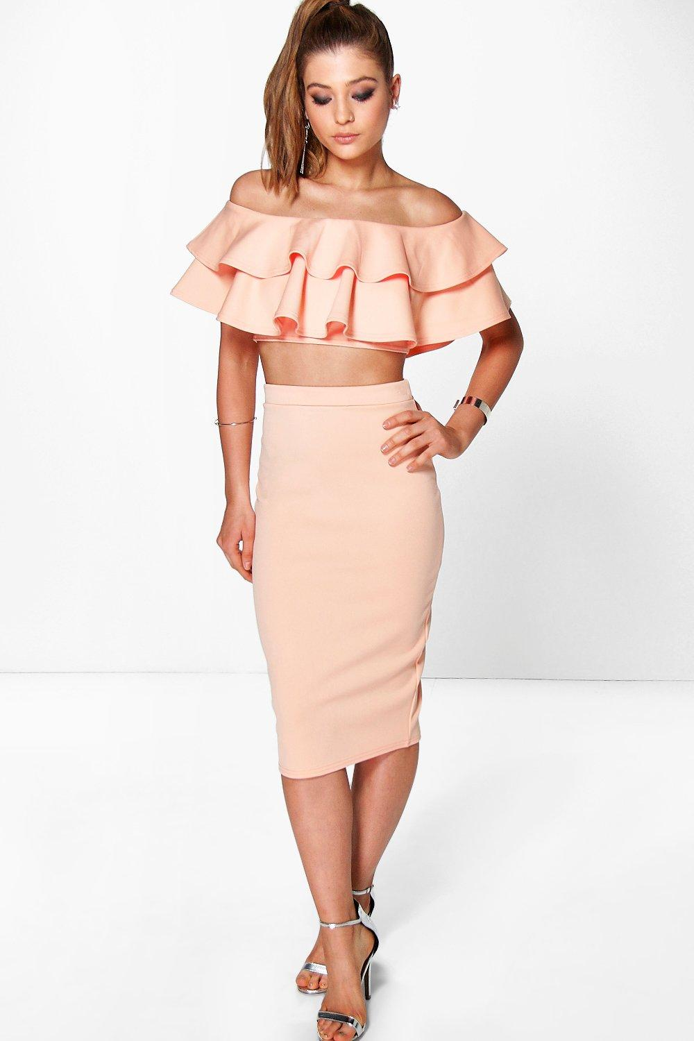 Meeka Double Ruffle Crop & Midi Skirt Co-Ord Set