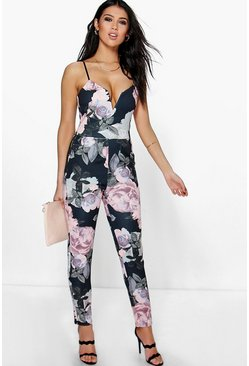 Kitty Floral Deep Plunge Jumpsuit