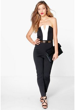 Alisha Colour Black Bandeau Jumpsuit