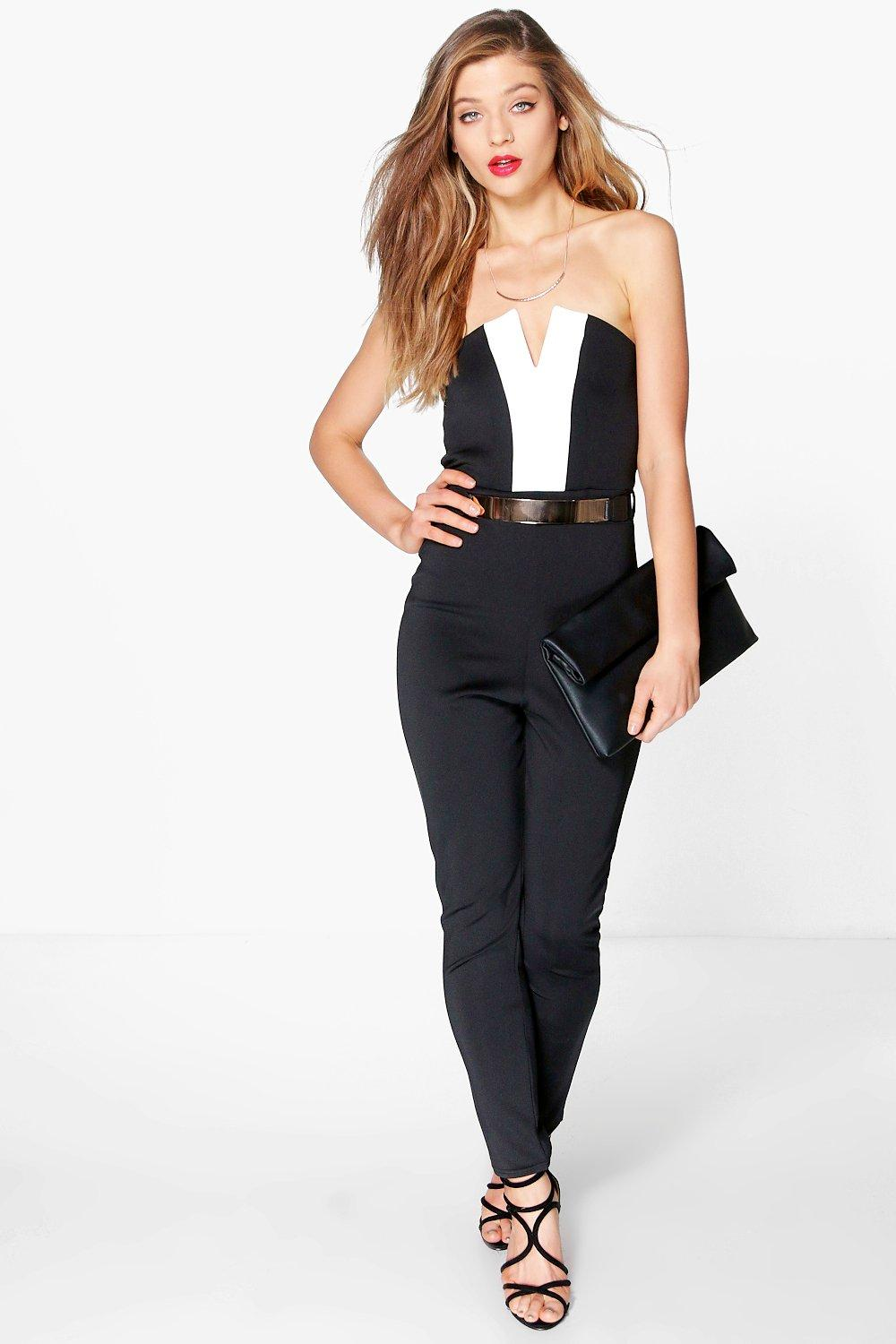 Alisha Colour Black Bandeau Jumpsuit | Boohoo