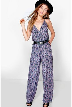 Lily Deep Plunge Wrap Over Flared Leg Jumpsuit