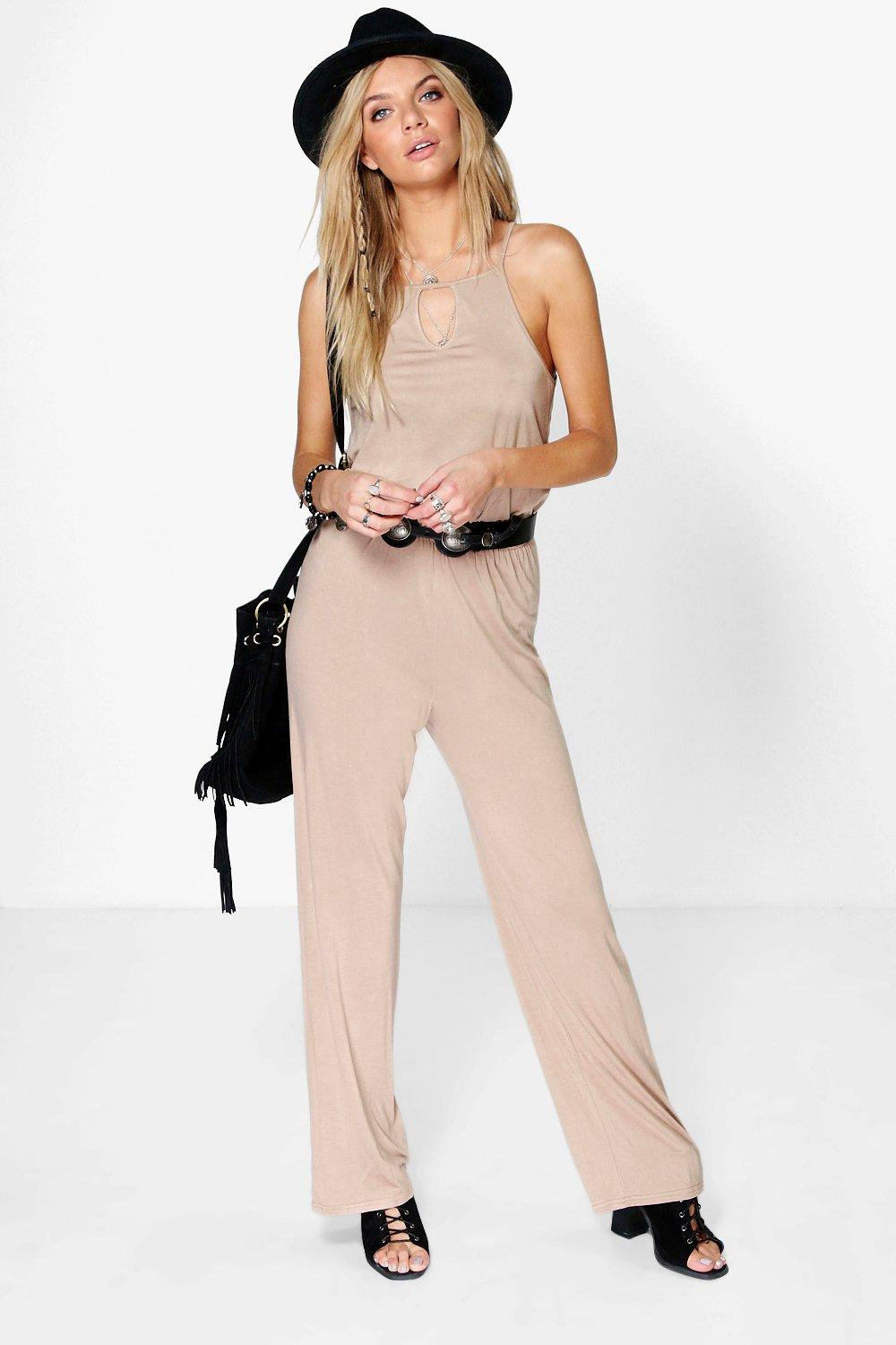 Lois Cut Away Shoulder Casual Jersey Jumpsuit